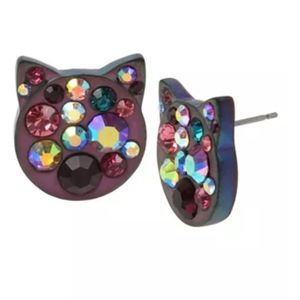 Betsey Johnson Cat Face Jeweled Stud Earrings NWT